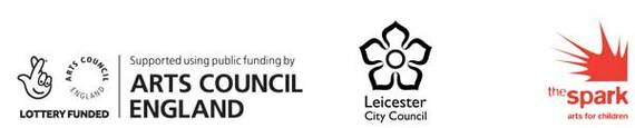 Logos: Arts Council England, Leicester City Council and The Spark